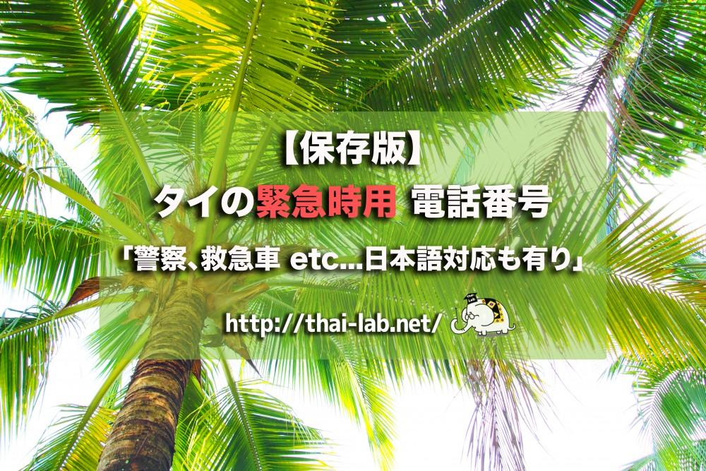【保存版】タイの緊急時用 電話番号「警察、救急車 etc...日本語対応も有り」
