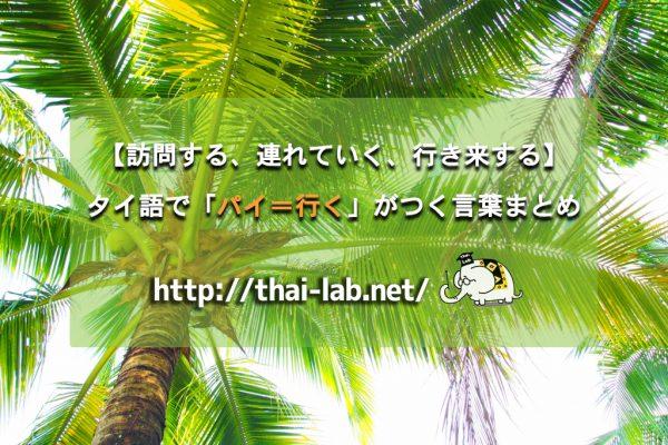 【訪問する、連れていく、行き来する】タイ語で「ไป:パイ=行く」がつく言葉まとめ