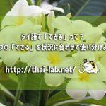 タイ語で「できる」って?4つの「できる」を状況に合わせて使い分けよう!